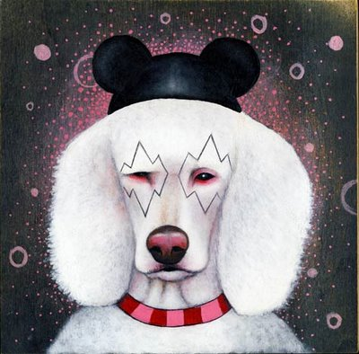 "Matt's latest portrait of man's best friend is entitled, ""Find your happy place,"" and is acrylic on wood panel."