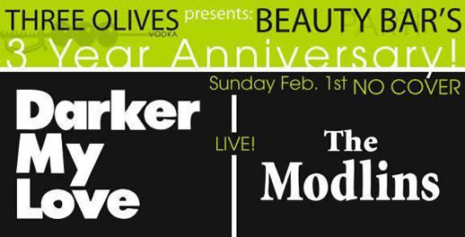 Modlins : Sunday Feb 1st @ the Beauty Bar